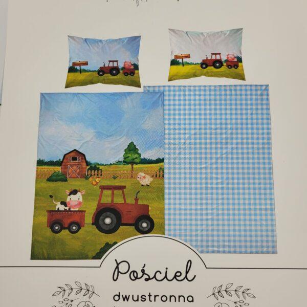 pościel traktor niebieski